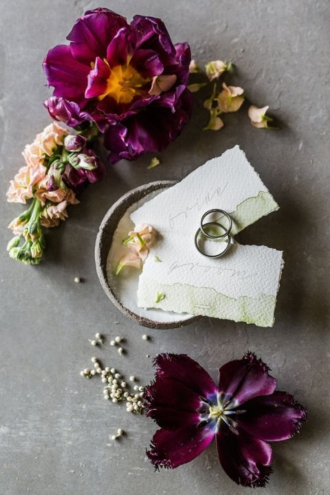 Watercolor Escort Cards and Engagement Rings