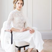 Modern European Wedding Style with a Long Sleeve Lace Jumpsuit