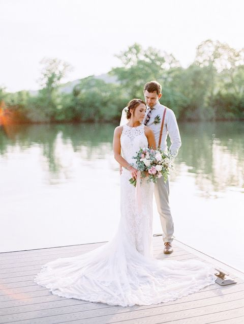 Rustic Romance Wedding On The River With Relaxed Glam Style