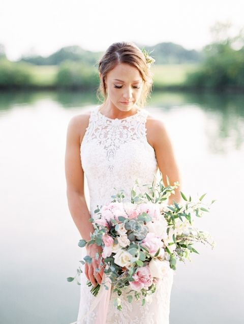 Fine Art Summer Farm Wedding with a Romantic Lace Dress