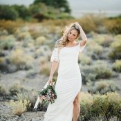 Simple Off the Shoulder Wedding Dress with a Slit