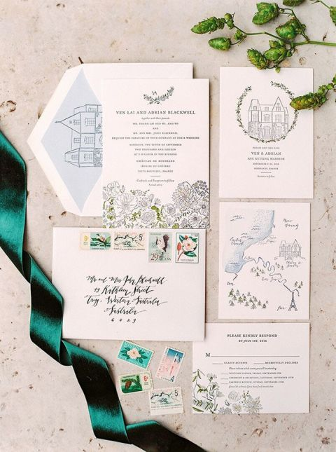 Letter Pressed Wedding Invitations with Hand Drawn Illustrations