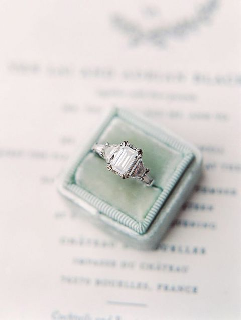 Emerald Cut Engagement Ring in a Vintage Velvet Box