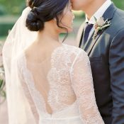 Couture Chantilly Lace Wedding Dress with an Open Back