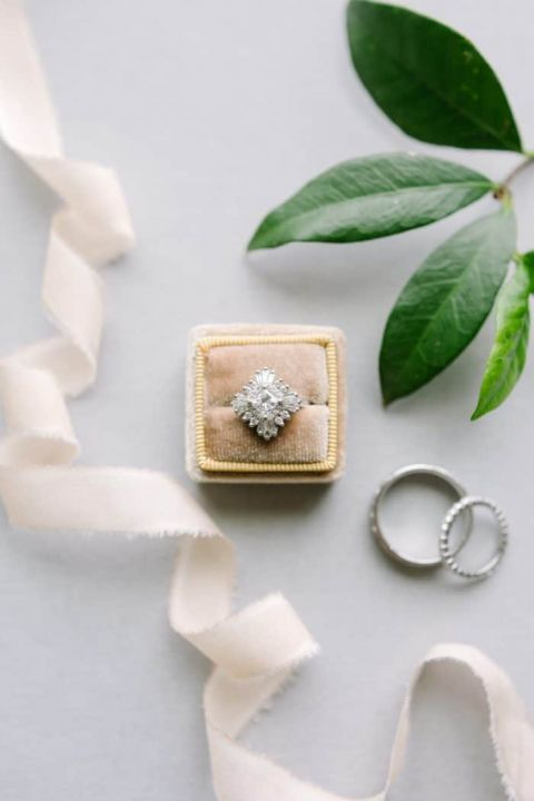 Vintage Diamond Starburst Art Deco Engagement Ring