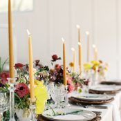 Tablescape Vibrant Modern Fall Colors and Taper Candles