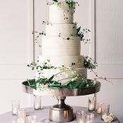 White and Silvery Green Delicate Floral Wedding Cake