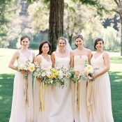 Pastel Peach and Yellow Bridesmaids
