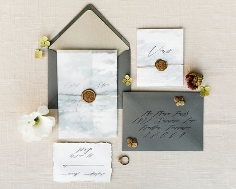 Marbled Invitations with Modern Gray Stationery