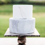 Pale Blue and Gold Marble Wedding Cake