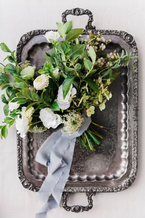 Vintage Silver Tray with a Summer Greenery Bouquet