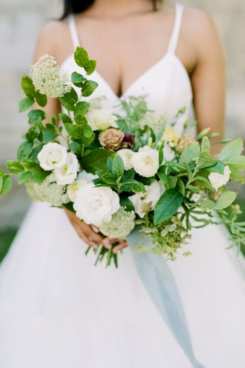 White and Green Summer Bouquet with Blue Ribbons