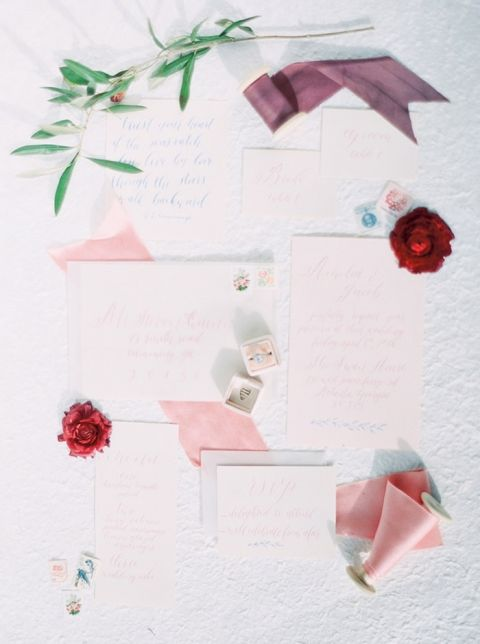 Vintage Wedding Invitations in Blush