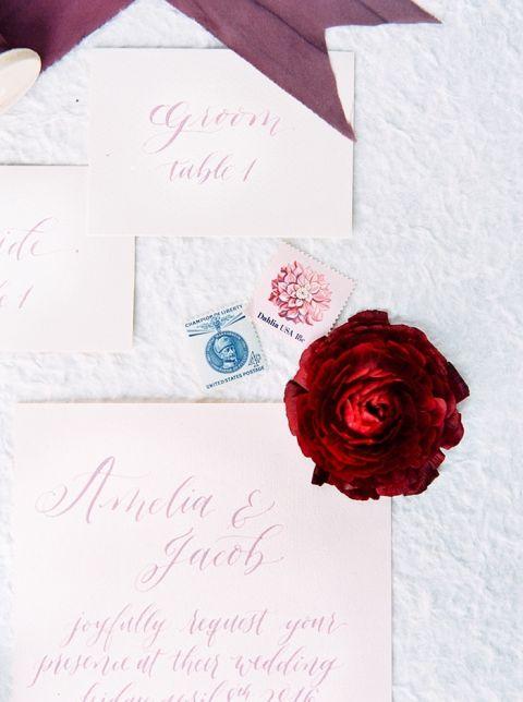 Blush and Poppy Calligraphy Wedding Invitations