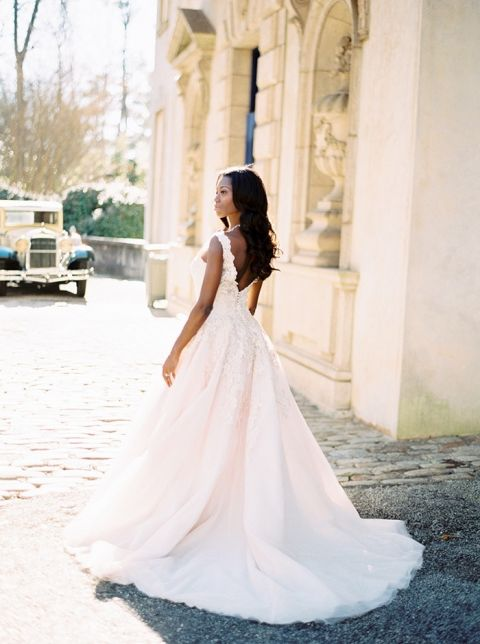 Romantic Blush Lace Wedding Dress with a Low Back