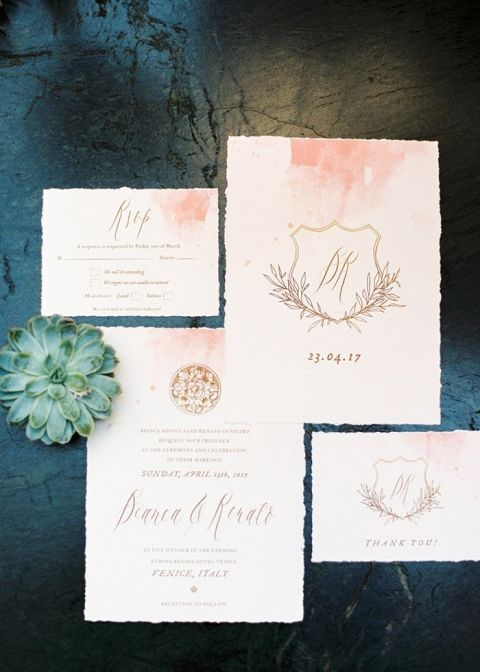 Gold Crest Invitation with Watercolor Details
