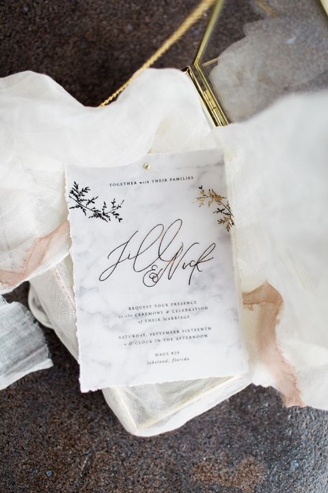 Marble Inspired Wedding Invitations