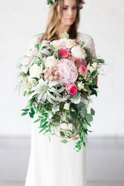 Modern Greenery and Blush Pink Bouquet