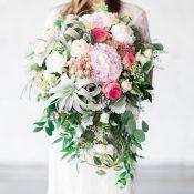Modern Greenery and Blush Pink Bouquet