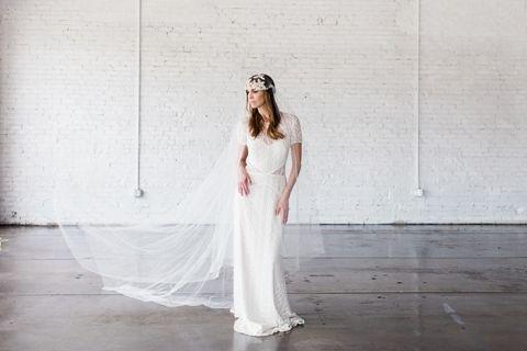 Modern Bohemian Lace Wedding Dress with a Juliet Veil