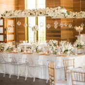 White and Gold Wedding Reception with Hanging Floral Installations