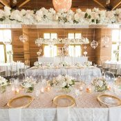 Modern Hanging Centerpiece over White and Gold Reception Tables