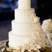 All White Wedding Cake with Sugar Flowers