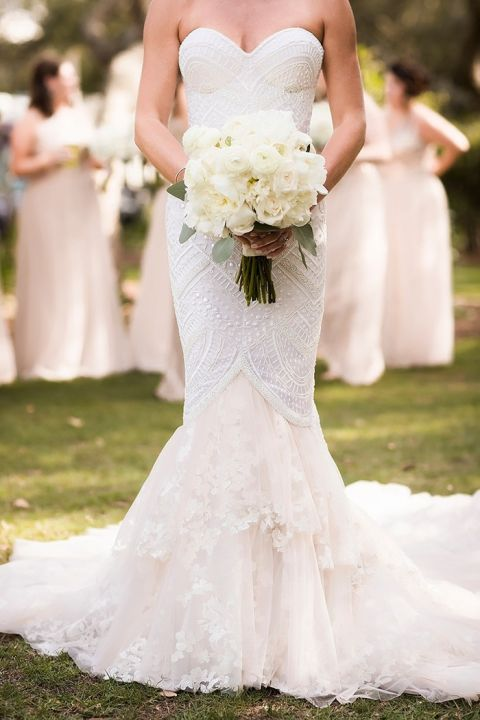 Ivory Beaded and Blush Lace Couture Wedding Dress