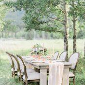 Elegant Farm Table with Romantic Peach Wedding Decor