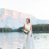 Mountain Lake Wedding Photos with a Sky Blue Dress