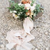 Summer Peach Bridal Bouquet with Silk Ribbons