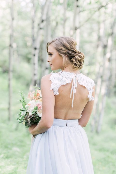 Open Back Lace Bridal Gown with Separates