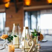 Wedding Table Decor with Geometric Candle Holders and Glitter Table Numbers