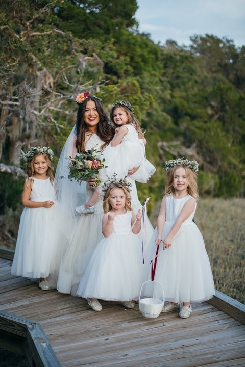 Bride with her Adorable Flower Girls