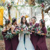 Boho Burgundy Bridesmaid Dresses for a Colorful Glam Fall Wedding