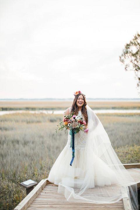 Lazaro Mermaid Wedding Dress with Colorful Chic Boho Style