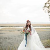 Lazaro Mermaid Wedding Dress with Colorful Chic Boho Style