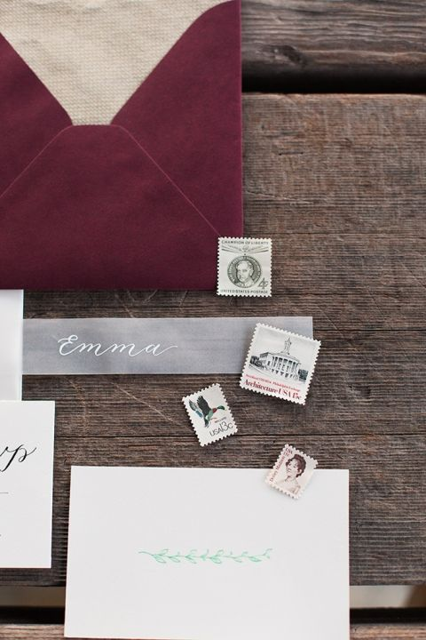 Burgundy and Gray Rustic Winery Wedding Invitations