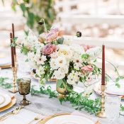 Vintage Gold and Greenery Wedding Decor with Organic Garden Flowers