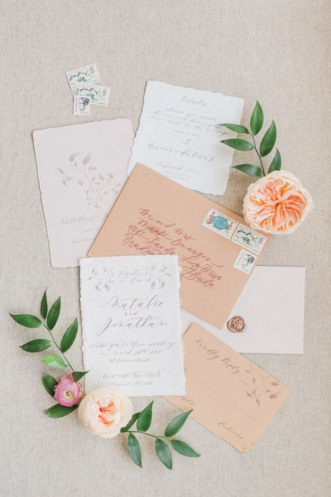 Romantic Neutral Calligraphy Invitations