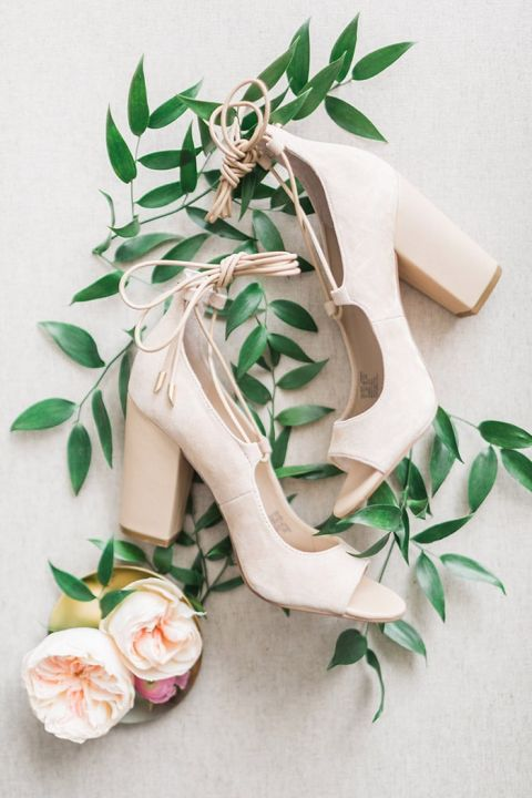 Modern Wedding Shoes with a Chunky Heel and Open Toes