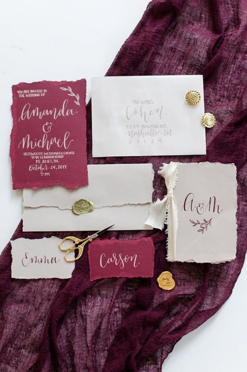 Rich Burgundy and Gold Wedding Invitations and Decor