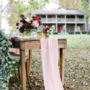 Rustic Farm Table with a Blush Runner and Greenery Garlands