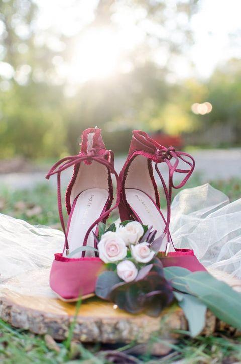 Crimson Bow Wedding Shoes