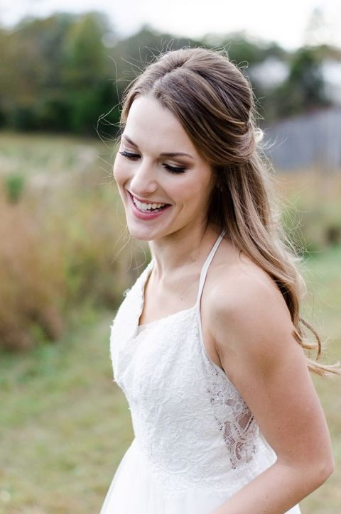 Sweet Half Up Bridal Hairstyle with a Halter Wedding Dress