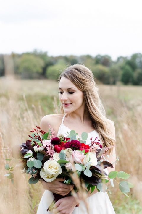 Moody Blush and Burgundy Southern Bridal Portraits