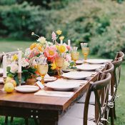 Rustic Farm Table with Colorful Citrus Inspired Wedding Flowers