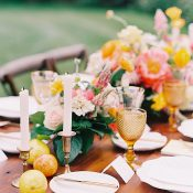 Floral Table Runner with Citrus Fruit