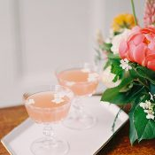 Pastel Wedding Cocktails with Edible Flowers