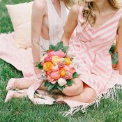 Mismatched Bridesmaids in Preppy Print Dresses in Pink and Coral